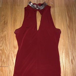 GUESS Red Tank with Sparkle Collar